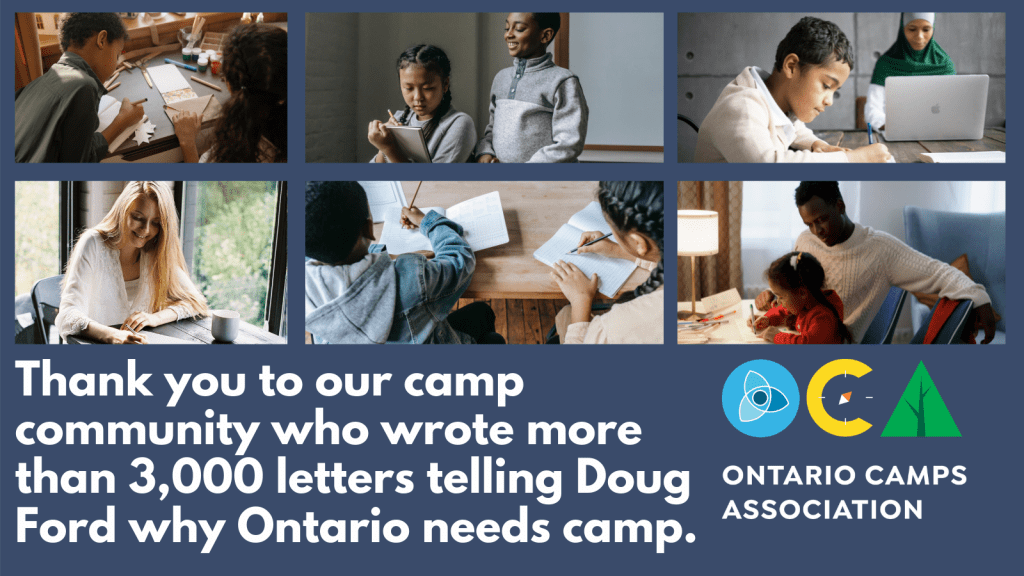 Banner - Thank you to our camp community who wrote more than 3,000 letters telling Doug Ford why Ontario needs camp.